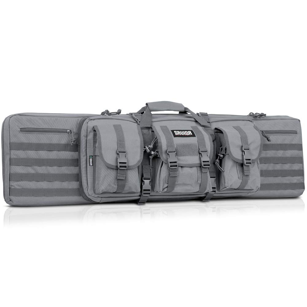 Savior Equipment American Classic Tactical Double Long Rifle Pistol Gun Bag Firearm Transportation Case w/Backpack - 51 Inch Ash Gray by Savior Equipment