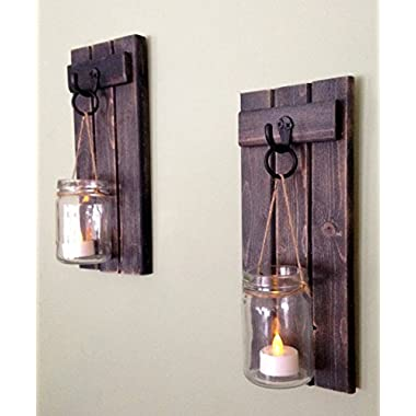 Rustic Wooden Candle Holder, Mason Jar Candle Wall Sconce, Set Of Two, in Weathered Black!