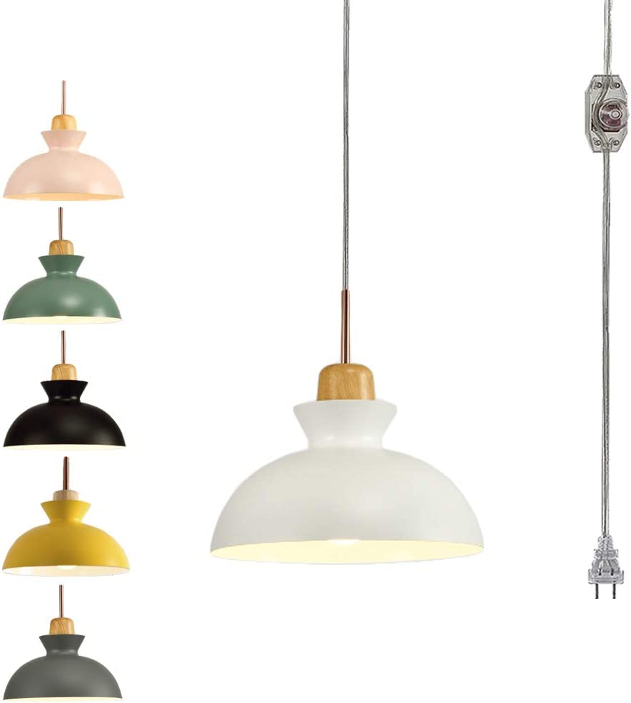 Amazon.com: STGLIGHTING Hanging Swag Lamp no Wiring Needed Wooden Handle  Pendant Light with 15ft Plug-in UL On/Off Dimmer Switch Cord Macaron White  Lamp Nordic Minimalist for Dining Room Bulbs Not Included: HomeAmazon.com