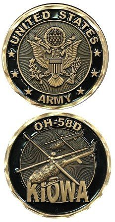 United States Military US Armed Forces Army OH-58D Kiowa Helicopter - Good Luck Double Sided Collectible Challenge Pewter Coin by Eagle -