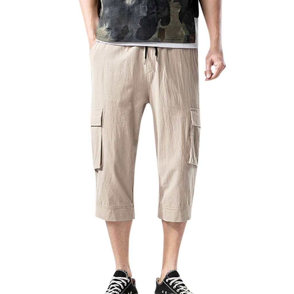 SFE Men Shorts,Men's Fashion Summer Casual Pocket Solid Drawstring Cotton 3/4 Pants Trousers Khaki