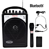 HISONIC HS122BT-HL Portable PA System with Dual Channel Wireless Microphones (One handheland and one Body Pack with headset and laverlier), Lithium Rechargeable Battery, Bluetooth Streaming Music From your Cell Phones,iPads, Android Pads and Computer, with Car Cable and Carry Bag, Black
