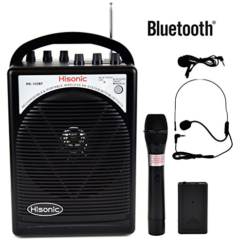 (Hisonic HS122BT-HL Portable and Rechargeable PA System with Dual Wireless Microphones & Bluetooth Connection)