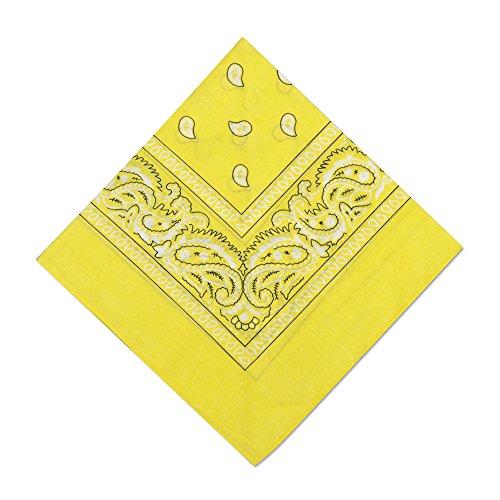 6 Pack Party Bandanas Multifunctional Bandana Handkerchiefs,Light Yellow