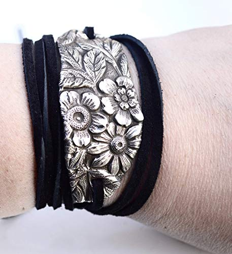 - Antique Kirk Stieff Floral Art Nouveau Sterling Silver 925 Leather Wrap Cuff Bracelet Rustic Repoussé Yoga Tie Wrap, Spoon Bracelet, Bouquet
