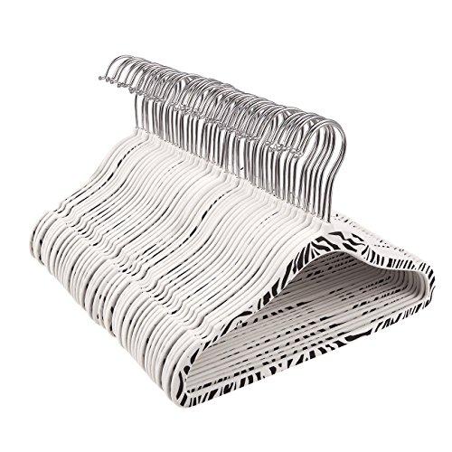 50-Pack Velvet Hangers - Non-Slip Zebra Pattern Kids Velvet Hangers, Thin Hangers, Non Slip Hangers, White - 11.5 x 8.3 - Boutique Zebra