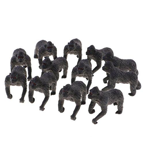 MonkeyJack Pack of 12pcs Standing Plastic Animal Chimpanzee Models Figurine Action Figures Kids Toy Party Bag Filler