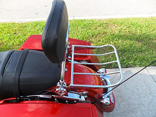 Wisdom Motorcycle Backrest Sissy Bar and Luggage Rack with LOCK for Harley Davidson Touring Models 2009 and Up by Wisdom Motorcycle (Image #4)