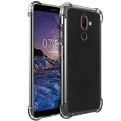 quality design 1d442 741b9 Tarkan Phone case for Nokia 7 Plus - Shock Proof Protective Soft  Transparent Back Cover [Bumper Corners with Air Cushion Technology]