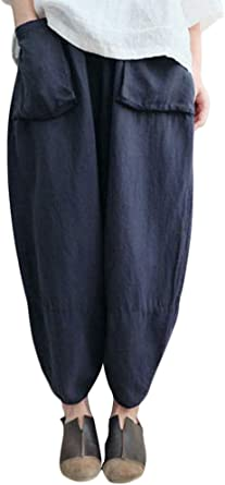 Romacci Pantalones Harem de Mujer Cintura elástica Pantalones Anchos sólidos Pantalones Holgados de Lino de algodón Holgado: Amazon.es: Ropa y accesorios