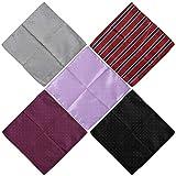 BMC Mens 5 pc Mixed Pattern Design Handmade Fabric Handkerchief Accessory Fashion Pocket Squares - Set 3: Deep and Dapper