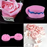 Dolloress 9X3.5 X 1.0 cm Pink 3D Rose Flower Fondant Cake Chocolate Sugarcraft Silicone Mould Clamping Die Mold Tools