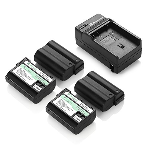 Powerextra 4 Pack Replacement Battery and Charger for Nikon