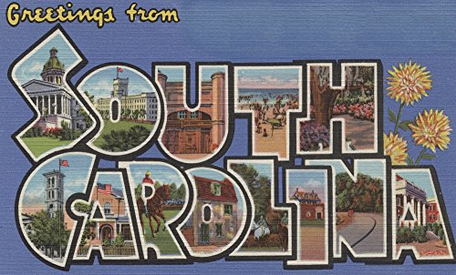 (South Carolina - Large Letter Scenes (12x18 Art Print, Wall Decor Travel Poster))