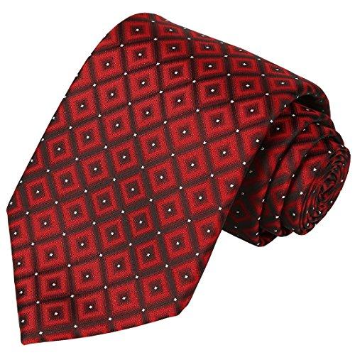 - KissTies Mens Tie Burgundy Red Necktie Diamond Ties + Gift Box