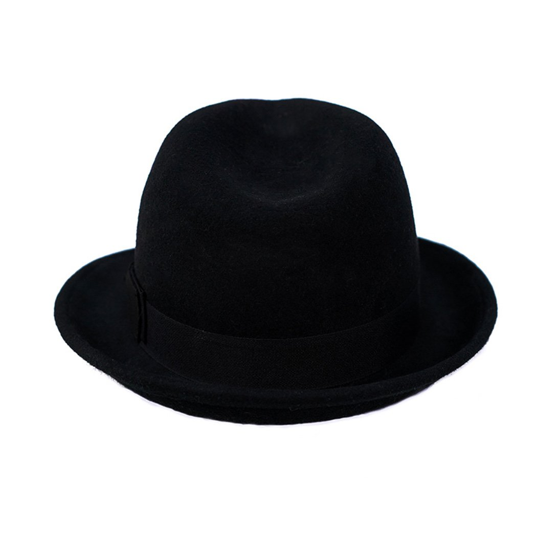 Wool Trilby Hat Men Women Felt Fedora Hat Panama Classic Manhattan Structured with Black Band (M,Black) by Anycosy (Image #2)