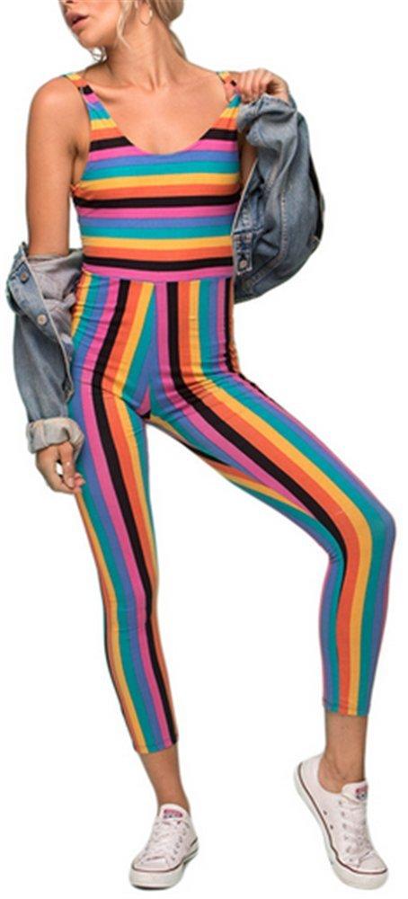 Vamvie Womens Rainbow Stripes Unitard Jumpsuit Playsuit Colorful Grunge Hipster Rpmper L
