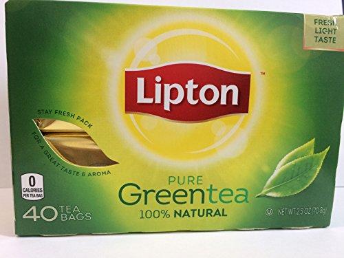 Lipton Pure Green Tea 100% Natural, 40 Tea Bags/Box, 2.5 Oz. Pack of 2. UPC:041000077210.