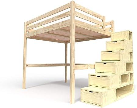 ABC MEUBLES - Cama Alta Sylvia con Escalera Cubo - Cube - Bruto, 160x200: Amazon.es: Hogar
