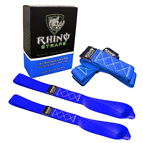 RHINO USA Soft Loop Motorcycle Tie Down Straps - Guaranteed 10,427lb Max Break Strength, Heavy Duty Tiedown Loops...