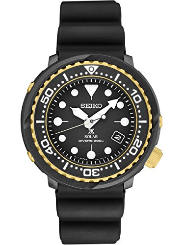 - Seiko Prospex Solar Dive Watch with Black Silicone Strap 200 m SNE498