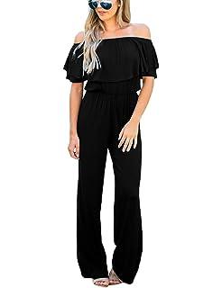 202bec5fc7f58 LookbookStore Women Off Shoulder High Waist Long Wide Leg Pants Jumpsuit  Romper