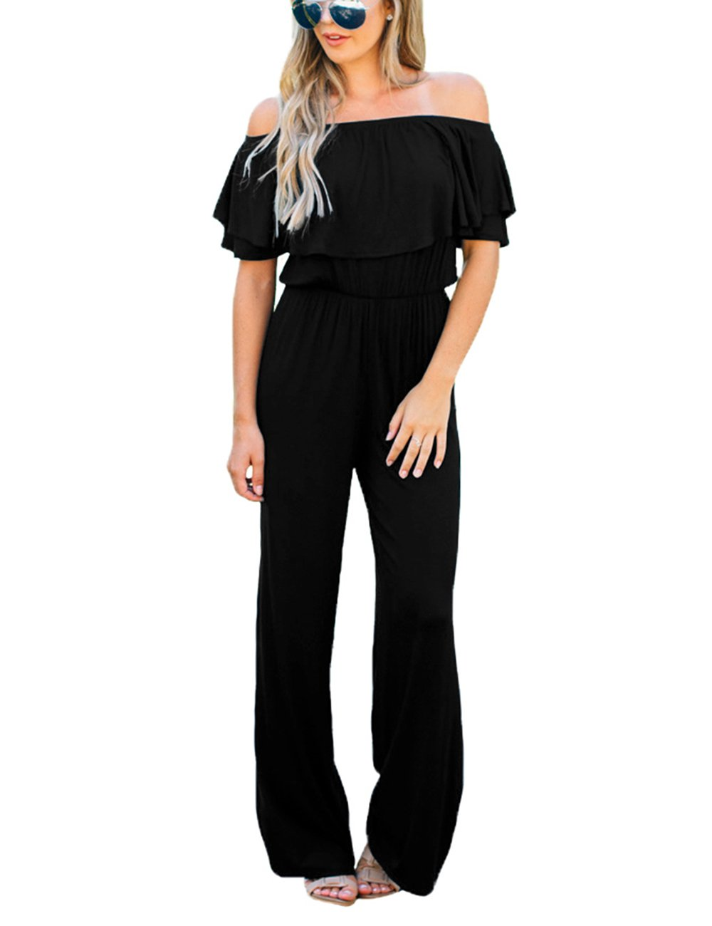 Lookbook Store Women's Sexy Off Shoulder High Waisted Ruffled Long Wide Leg Pants Black Jumpsuits Rompers Size XL