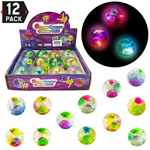 12 Pack Light Up Glitter Bouncy Balls with Colorful Fish, Confetti and LED Flasher for Kids Party Favors (2 Inche)]()