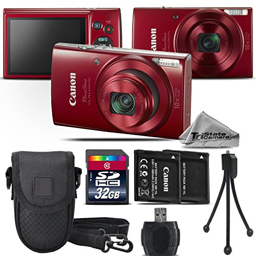 Canon PowerShot ELPH 180 Digital Camera (Red) + Backup Battery + 32GB Class 10 Memory Card + Case + Card Reader + Tripod + Cleaning Kit - International Version