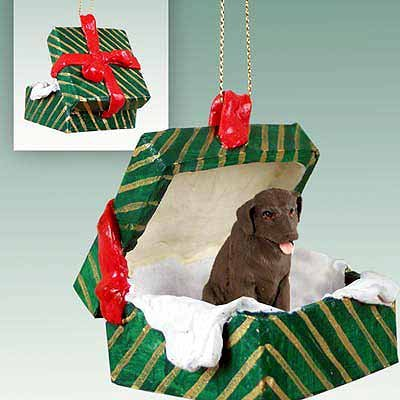 Labrador Retreiver Green Gift Box Dog Ornament - Chocolate ()