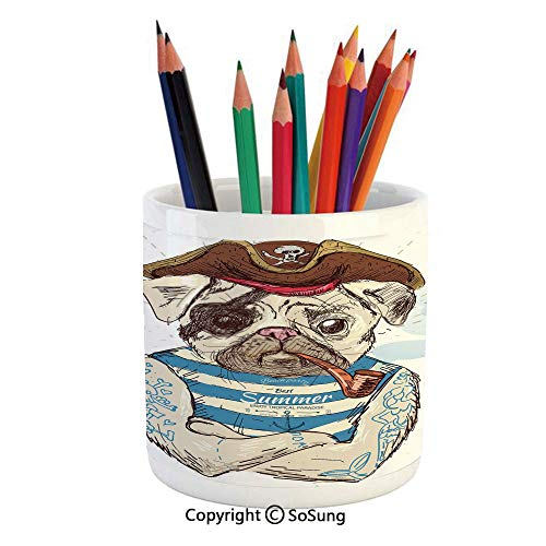 Printed Ceramic Pencil Pen Holder Case Box,Pirate Pug Conqueror of the Seas Pipe Skulls and Bones Hat Striped Sleeveless T Shirt Decorative Beautiful Stationery for Daily Use in Office,Classroom,Home,