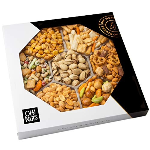 Oh! Nuts Exotic Snacks Party Assortment Food Gift Set |Christmas Holiday Basket |Unique Snack Baskets, Spicy & Hot Cajun Assortment Tray Thanksgiving, Fathers Day Gifts (Exotic mixes Gift Tray)