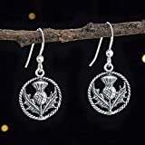 Sterling Silver Scottish Thistle Earrings - Small, Double Sided - Handmade, Solid .925