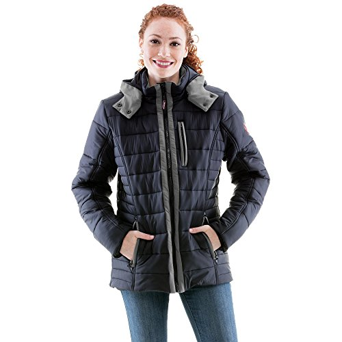 Refrigiwear Women's Lightweight Insulated Pure-Soft Jacket with Removable Hood (Black/Charcoal, Large)