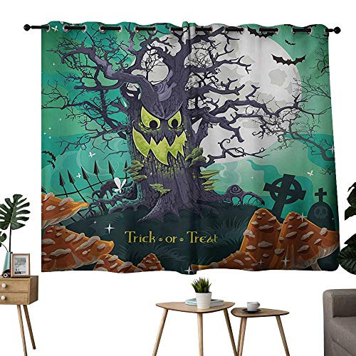 NUOMANAN Room Darkening Wide Curtains Halloween,Trick or Treat Dead Forest with Spooky Tree Graves Big Kids Cartoon Art Print,Multicolor,Rod Pocket Drapes Thermal Insulated Panels Home décor 42