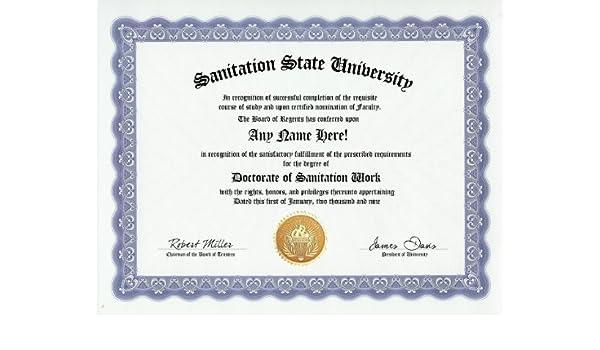Amazon.com: Sanitation Worker Degree: Custom Gag Diploma Doctorate ...
