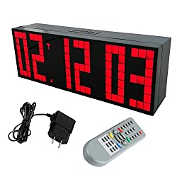 Yosoo Digital Alarm Countdown up Clock with Large 3'' Display Remote Control Red