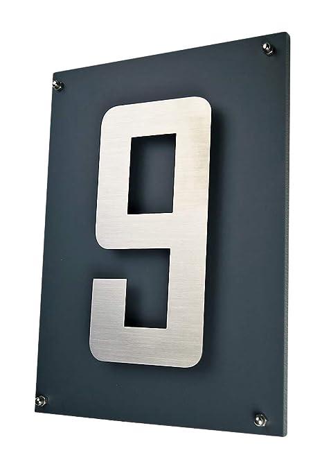 número de casa/placa acero inoxidable V2 A, tipo de letra ...