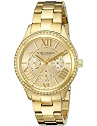 Stuhrling Original Women's 391LS.02 Symphony Regent Majestic Sterling Eccles MultifunctionQuartz Swarovski Crystal Gold Tone Bracelet Watch