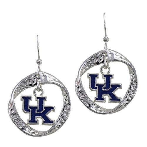 Wildcats Crystal Kentucky Earrings - SANDOL Kentucky Twist Hoop Earrings with Dangle Logo