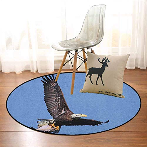 Eagle Regional Round Carpet Hunter Bird Carrying a Fish to The Nest in Open Blue Sky Predator Cycle of Life Non-Slip Easy to Clean D47.2 Inch Dark Brown Blue