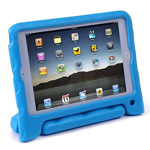 iPad Mini Retina 1/2/3 Kids Light Weight Portable Shock Proof Case With Stand Handle(Blue)