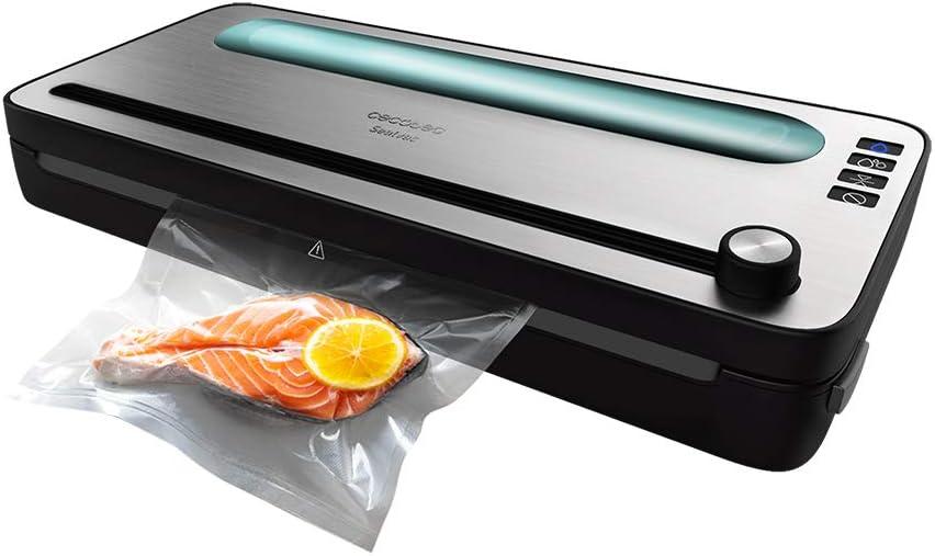 Cecotec Envasadora al vacío FoodCare SealVac 120 SteelCut. 120 W, Sistema de envasado en 10 seg, Presión de vacío de 0,75 bar, Sellado silencioso, 2 modos