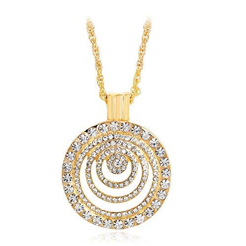 Ecloud Shop Unique Eccentric round shape pendant female Hollow diamond necklace golden