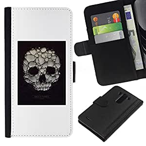 ZCell / LG G3 / Skull Soap Bubble Death Poster White / Caso Shell Armor Funda Case Cover Wallet / Cráneo jabón burbujas Muerte P&oa