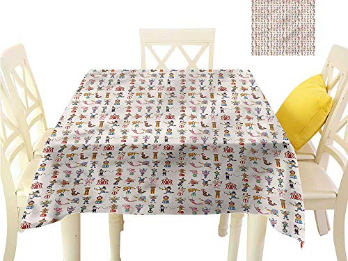 Davishouse Elegant Waterproof Spillproof Polyester Fabric Table Cover Lion Tamers Acrobats Perform Indoor Outdoor Camping Picnic W63 x L63