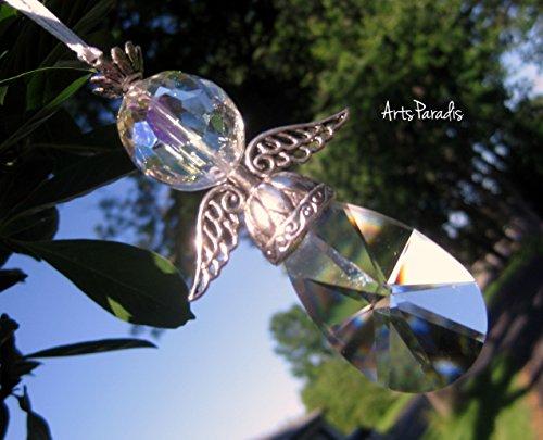 Christmas Guardian Angel Clear Crystal Ornament Suncatcher by ArtsParadis