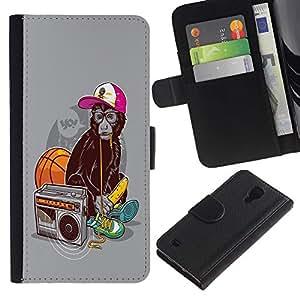 Be Good Phone Accessory // Caso del tirón Billetera de Cuero Titular de la tarjeta Carcasa Funda de Protección para Samsung Galaxy S4 IV I9500 // Funny Swag Monkey Ape