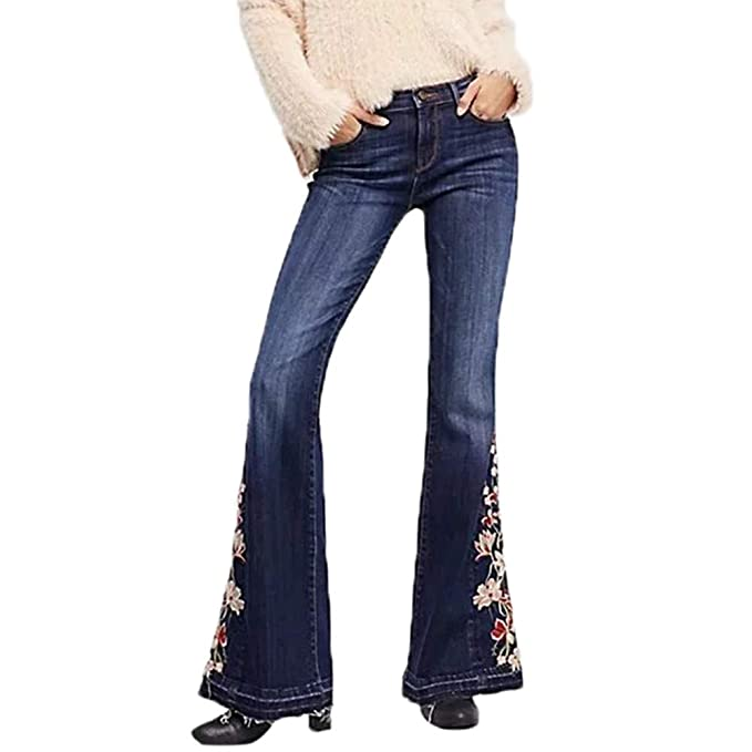 576ac3c6061 Sixcup Fashion Women 60s 70s Flared Jeans High Waist Bell Bottom Jeans Rose  Embroidery Stretch Fitted Flare Skinny Denim Pants Wide Leg Full Length  ...