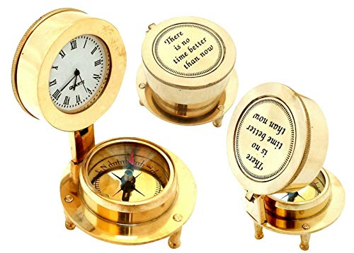 Amazing Art Handicrafts Nautical Shiny Brass Open Clock & Compass Vintage Maritime Collectibles